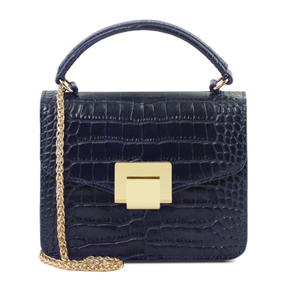 Croc Print Mini Bag in Dark Blue by Tuscany Leather | Women's | Handbags | Australia