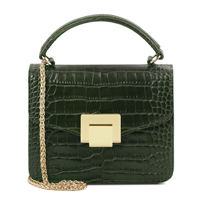 Croc Print Mini Bag in Forest Green by Tuscany Leather | Women's | Handbags | Australia