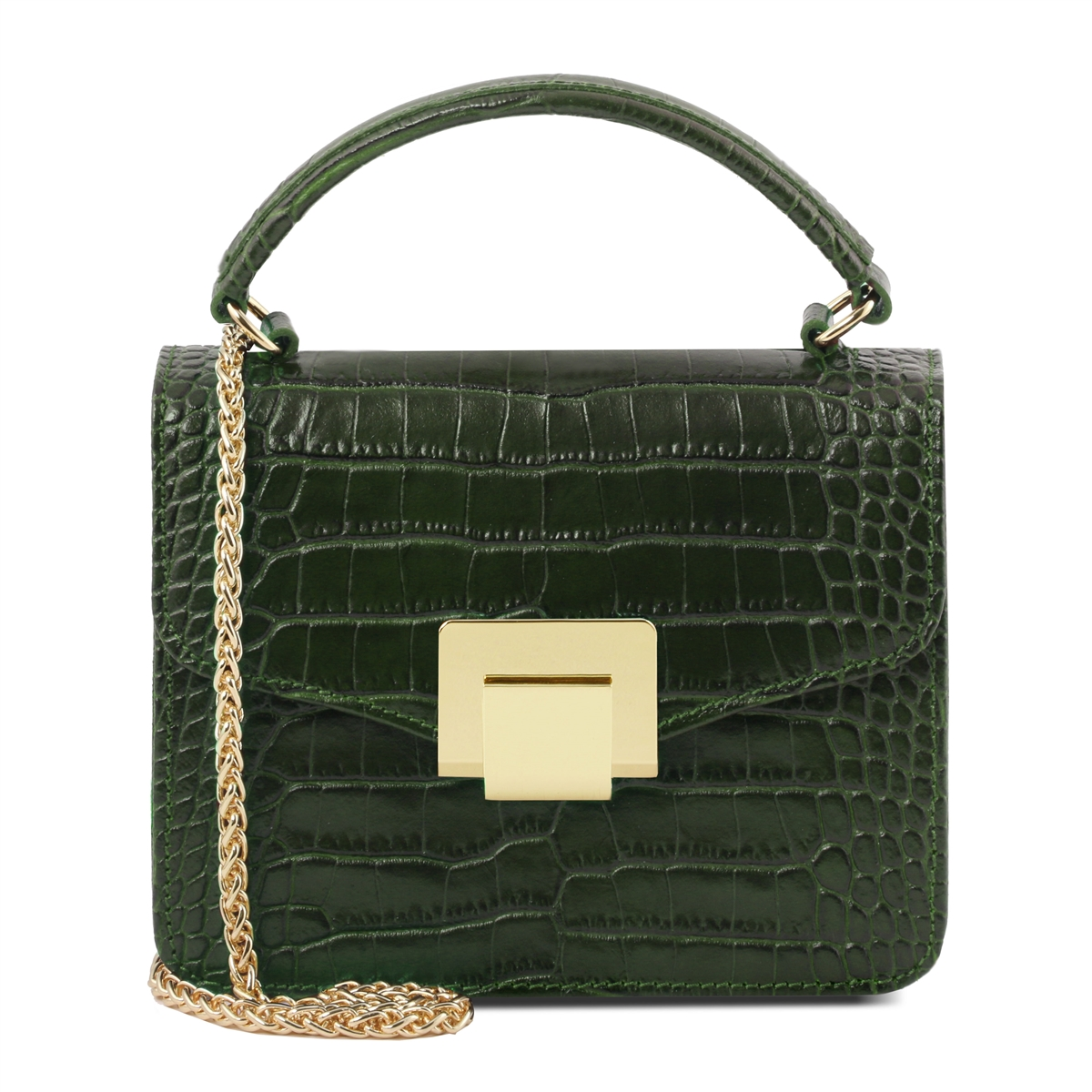 croc print mini bag forest green by tuscany leather. Black Bedroom Furniture Sets. Home Design Ideas