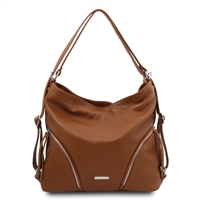 Soft Convertible Leather Bag - Cognac | Women's | Bags Australia