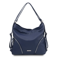 Soft Convertible Leather Bag - Dark Blue | Women's | Bags Australia