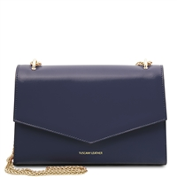 Fortuna Shoulder Bag - Dark Blue | Women's Bags | Genuine Italian Leather