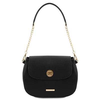 Fresia Black Leather Shoulder Bag | Genuine Leather Bags | Australia
