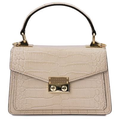 Beige Croc Print Mini Bag by Tuscany Leather | Women's | Handbags | Australia