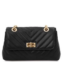 Quilted Twist Lock Shoulder Bag - Black | Women's Bags | Australia