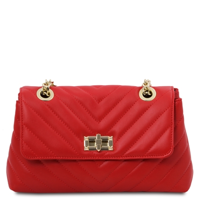 Quilted Twist Lock Shoulder Bag - Red | Women's Bags | Australia