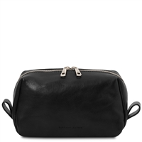 Tuscany Leather Owen Leather toilet bag - Black | Australia