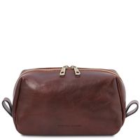 Tuscany Leather Owen Leather Toiletry Bag - Brown | Australia