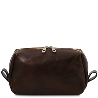 Tuscany Leather Owen Leather Toiletry Bag - Dark Brown | Australia