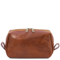Tuscany Leather Owen Leather Toiletry bag - Honey  | Australia