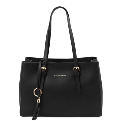 Tuscany Leather Smooth Black Leather Shopper Bag | Handbags Australia