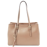 Tuscany Leather Smooth Leather Shopper Bag - Champagne | Handbags Australia