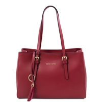 Tuscany Leather Smooth Red Leather Shopper Bag | Handbags Australia