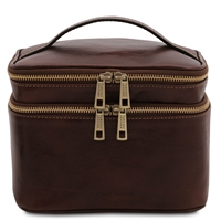 TL142045 Eliot Toiletry Bag for Women - Dark Brown | Genuine Leather | Australia