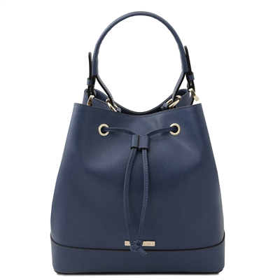 Tuscany Leather Bucket Bag - Blue | Genuine Leather Bags | Australia