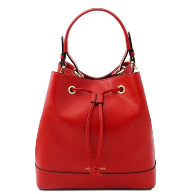 Tuscany Leather Bucket Bag - Red | Genuine Leather Bags | Australia