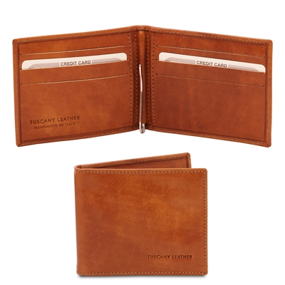 Leather Wallet with Money Clip - Honey | Men's Wallets | Australia