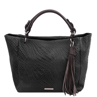 Woven Printed Shopper Bag - Black | Genuine Leather Bags | Australia
