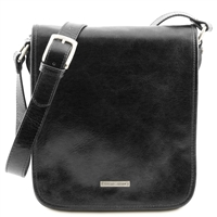 Tuscany Leather TL141255 Men's Messenger Bag - Small - Black