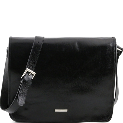 Tuscany Leather TL141254 Men's Messenger Bag - Large - Black