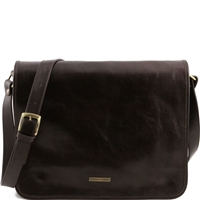 Tuscany Leather TL141254 Men's Messenger Bag - Large - Dark Brown