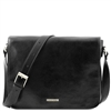 Tuscany Leather TL90475 Men's Messenger Double - Black