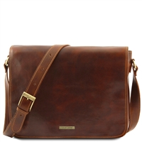 Tuscany Leather TL90475 Men's Messenger Double - Brown