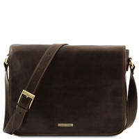 Tuscany Leather TL90475 Men's Messenger Double - Dark Brown