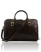 Tuscany Leather Berlin TL1014 Travel leather duffle bag - Small size  - Dark Brown