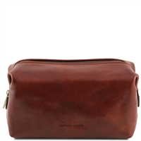 Tuscany Leather Smarty TL141219 - Large Leather Toilet Bag - Brown