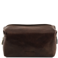 Tuscany Leather Smarty TL141219 - Large Leather Toilet Bag - Dark Brown