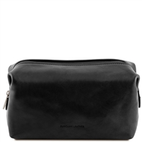 Tuscany Leather Smarty TL141219 - Large Leather Toilet Bag - Black