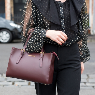 Shop Instagram. Aura Leather Handbag in Bordeaux