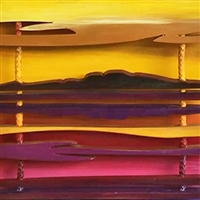Susitna Sunset - 3D Wooden painting - Vivid  Alaskan celebration of colors where sky meets land and ocean in a dazzling display of lines and blazing oranges, reds, purples, and gold. 10 x 30 inches