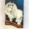 "3D wooden painting ""Vantage Point"" - a Mountain Goat on a high, steep, and narrow ridge on a cliff in the mountains  Who can follow it there?"