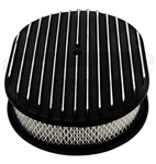 "1967 - 1992 Firebird Air Cleaner Assembly, 12"" Oval Open Element, BLACK ALUMINIUM FULL FINNED"