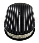 "1967 - 1992 Firebird Air Cleaner Assembly, 15"" Oval Open Element, BLACK ALUMINIUM FULL FINNED"