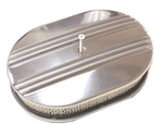 "1967 - 1992 Firebird Air Cleaner Assembly, 15"" Oval Open Element, POLISHED ALUMINIUM PARTIAL FINNED"