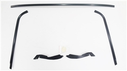 1970 - 1981 Trans Am Windshield Moldings Kit, BLACK ANODIZED with Clips and Plastic Corners