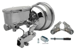 "Custom Firebird CHROME 8"" Power Brake Booster Kit with Oval Master Cylinder & Proportioning Valve Kit for Disc/Drum"