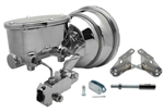 "Custom Firebird CHROME 8"" Power Brake Booster Kit with Oval Master Cylinder & Proportioning Valve Kit for Disc / Disc"