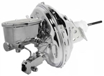 "Custom Firebird CHROME 11"" Power Brake Booster Kit with Oval Master Cylinder & Proportioning Valve Kit for Disc/Disc"