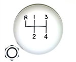 Shifter Knob Ball, White 4 Speed, 3/8 Inch FINE THREAD