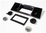 1967 - 1968 Firebird Center Dash Radio Face Plate and Knobs Set, Black and Chrome