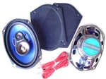 "Rear Deck Chrome Speakers Set 6"" x 9"" with Flat Grill Covers 200Watts"