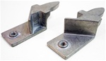 1968 - 1969 Firebird Upper Rear Door Window Glass Stop Guide Brackets, Pair
