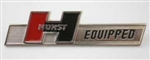 Hurst Equipped Emblem Badge, Die Cast Metal Chrome Plated without Studs