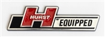 Hurst Equipped Emblem, Hard Plastic Chromed with Peel and Stick Backing, Small