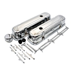 1967 - 1981 Chrome Pontiac Firebird or Trans Am or Bandit Engine Valve Cover Set and Dress Up Kit, TALL