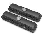 Pontiac Style Aluminum LS Valve Covers with Coil Mounting Base & Integrated Coil Cover, Satin Black Finish